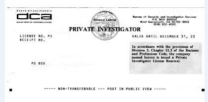 California Private Investigator PI License Test